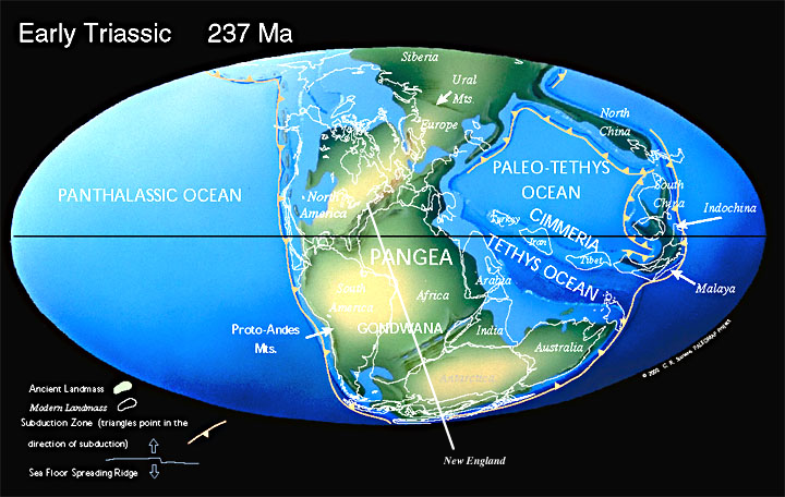 Geology of boston map of the world around 237 million years ago at the time of pangaea source paleomap project scotese publicscrutiny Images
