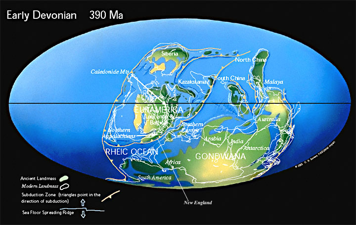 Geology of boston map of the world around 390 million years ago source paleomap project scotese publicscrutiny Images